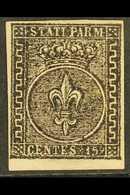 PARMA 1852 15c Black On Rose, Sass 3, Superb Mint No Gum. Cat €1750 (£1500) For More Images, Please Visit Http://www.san - Italy