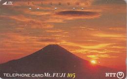 Télécarte JAPON / NTT 290-074 - MONT FUJI & Coucher De Soleil  / TBE - Mountain & Sunset JAPAN Phonecard - Volcans