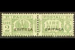 ERITREA PARCEL POST 1927-37 2L Green Overprint (SG P129, Sassone 28), Never Hinged Mint Horizontal Pair, Very Fresh & Sc - Italy