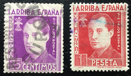 JOSE ANTONIO PRIMO DE RIVERA. 2 TIPOS - Verschlussmarken Bürgerkrieg