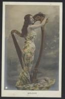 "Jolie Femme Avec Harpe - Woman With Harpe - "" MELODIE "" - Ancien Cpa - Old Postcard - Women"