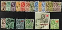 1922-29 Script Watermark Set (less 1d Carmine And 2s Values), SG 63/83, Fine Cds Used, The 4s On Original Piece (19 Stam - Montserrat