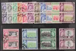 1953-62 Definitives Set, SG 136b/49a, In Vertical Pairs, Very Fine Used. (15 Pairs) For More Images, Please Visit Http:/ - Montserrat