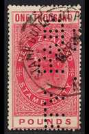 """REVENUE 1882-1930 QV £1000 Red Revenue, Barefoot 289, Punctured """"Duty Paid"""" With Stamp Duty - Fiscal Cancel. For More I - New Zealand"""