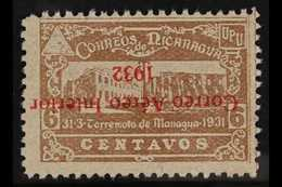 1932 6c Grey-brown Air With INVERTED OVERPRINT Variety (Scott C37a, SG 699a), Fine Unhinged Unused No Gum As Issued, Ver - Nicaragua