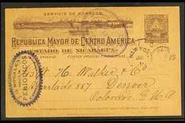POSTAL STATIONERY 1899 3c Grey Postal Stationery Card To Colorado, USA, With Violet Oval CORINTO Postmark, New York Tran - Nicaragua