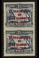 1935 PROOF SHEET IMPERF BETWEEN PAIR. 2½d Dull And Deep Blue Silver Jubilee Opt, SG 70, Vertical Pair, IMPERF BETWEEN Ho - Niue