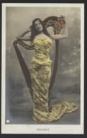 """Jolie Jeune Femme Avec Harpe - Beautifull Young Woman With Harpe - """" MELODIE """" - Ancien Cpa - Old Postcard - Women"""