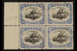 1907-11 2½d Black & Dull Blue Lakatoi Wmk Sideways Perf 11, SG 62, Fine Cds Used Left Marginal BLOCK Of 4 (positions 11- - Papua New Guinea