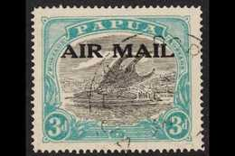1929-33 3d Sepia-black And Bright Blue Green AIR MAIL Overprint, Harrison Printing SG 113, Very Fine Cds Used. For More  - Papua New Guinea
