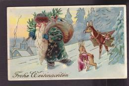 CPA Père Noël Santa Claus Lapin Circulé - Santa Claus
