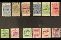 POSTAL FISCAL 1914-55 USED ASSEMBLY That Includes 1914-24 2s Blue (SG 122), 2s6d Grey Brown (SG 123), 10s Maroon (SG 125 - Samoa