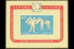 "1951 40c Multicoloured ""National Philatelic Exhibition, Lucerne (Lubana) Miniature Sheet, SG MS 531a, Mi Block 14, Never - Switzerland"