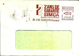 Lettre Flamme EMA Havas G 2 Ans Garantie Simca  78 Poissy   C5/12 - Autos