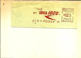 Lettre Flamme EMA Havas G Tous En Simca 1000 Oiseau Hirondelle   78 Poissy   C5/13 - Autos
