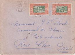 """SENEGAL : DE """" ST LOUIS """" . EN POSTE RESTANTE . POUR PARIS . 1932 . TAXEE . - Senegal (1887-1944)"""