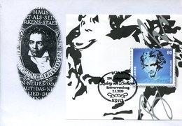 51377 Germany,  Fdc 2020 Ludwig Van Beethoven,  Block, Special Postmark 2.1.2020 - Muziek