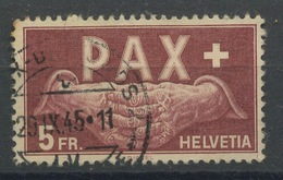 1945 PAX  5 Francs  N_416  Cote Yvert 325,-euros  Ø Date Lisible - Used Stamps