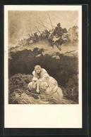 Künstler-AK Alphonse Mucha: Slovanska Epopeje, Slované V Pravlasti (Fragment), Menschen Verstecken Sich Vor Den Sold - Mucha, Alphonse