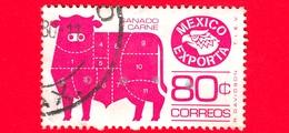 MESSICO - Usato - 1976 - Mexico Exporta - Meat Cuts  - Tagli Di Carne E Marchio Di Esportazione - 80 - Mexiko