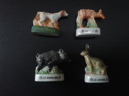 Lot De 4 Fèves De Chasse : Sanglier, Lièvre, Faon, Chien De Chasse - Animals