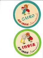 2 Stickers Aviation Air India 1950 Old Vintage - Publicidad