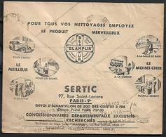 Cheque Cover France,Paris,chèques Postaux.CCP.Postes Telegraphes Et Telephones,automobile, Car,cleaning,kitchen,bathroom - Publicités