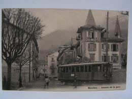 CPA SUISSE MONTHEY AVENUE DE LA GARE TRAMWAY 792 - VS Valais