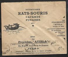 Cheque Cover France,Paris,chèques Postaux.CCP.Postes Telegraphes Et Telephones,destroy Mouse,rats,cockroach Bugs,attila - Publicités