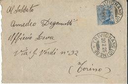 TRIVIGNANO UDINESE - TORINO 20-2-25 LETTERA MICHETTI CENT 25 - 1900-44 Vittorio Emanuele III
