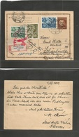 SLOVAKIA. 1942 (1 Nov) Nove Mestonad Vahom - Sudeten, Schonelinde (13 Nov) Registered 7 Oh Brown Stat Card + 3 Adtls Cen - Ohne Zuordnung