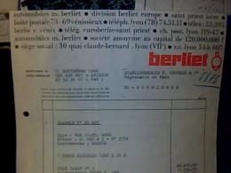 Facture Année 1966 Automobile Berliet Europe - Automobile