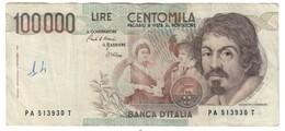 Italy 100000 Lire Caravaggio 1 Type - [ 2] 1946-… : Repubblica