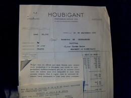 Facture Année 1940 Parfumerie HOUBIGANT à Paris Faubourg Saint Honoré - Francia