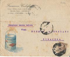 CATANIA 1-5-25 LETTERA CAMPIONI SENZA VALORE MICHETTI CENT 40 - 1900-44 Vittorio Emanuele III