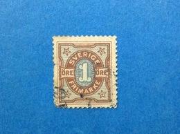 1892 SVEZIA SVERIGE 1 ORE FRANCOBOLLO USATO STAMP USED - Oblitérés