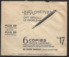 Cheque Cover France,Paris,chèques Postaux.CCP.Postes Telegraphes Et Telephones,carbon Paper. Pen, Pencil Ink - Publicités