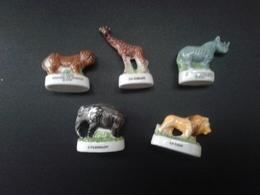Lot De 5 Fèves Animaux Sauvage De La Savane : Lion - Tigre - Girafe - éléphant - Rhinocéros - - Animals