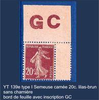 "FR YT 139etype I"" Semeuse Camée 20c. Lilas-brun"" Neuf** GC BDF - 1906-38 Sower - Cameo"