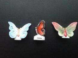 Lot De 3 Fèves Papillons : Europe - Colombie - Nouvelle Guinée - - Animals