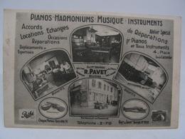 CPA 18 CHER RARE CARTE PUBLICITAIRE BOURGES PIANOS HARMONIUMS MUSIQUE INSTRUMENTS PAVET PLACE LOUIS LACOMBE 810 - Bourges
