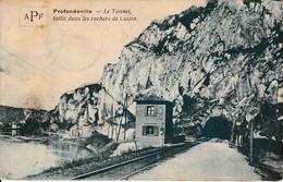 Profondeville Le Tunnel Taillé Dans La Pierre De Lustin Chemin De Fer Passage à Niveau La Meuse - Profondeville