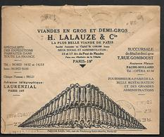 Cheque Cover France,Paris,chèques Postaux.CCP.Postes Telegraphes Et Telephones,meat En Gros, Pigs Food - Publicités