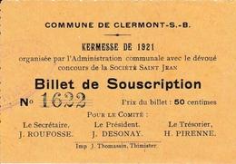 Billet De Souscription Kermesse De Clermont-S.-B De 1921 92x65mm - Thimister-Clermont