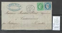 France -Lettre - Affranchissement Septembre 1871 - Lyon - SIGNE CALVES - Marcophilie (Lettres)