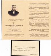 FAIRE-PART De DECES Du Docteur En Médecine JEAN-BAPTISTE GRIVEAUD+ Sa Carte De Visite à PARAY-le-MONIAL-(11//2/20) - Décès