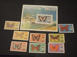 BHUTAN - 1975 FARFALLE 8 VALORI + BF - NUOVI(++) - Bhutan