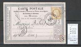 France -CP Précurseur - Convoyeur Station Belfort à Besançon - Gare De VOUJAUCOURT - Doubs - 1849-1876: Période Classique