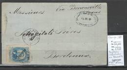 France -Lettre Du Mexique (Monterey )  - Pour Bordeaux - 1881 - Via Brownsville -Nelle Orléans Et Calais - Postmark Collection (Covers)