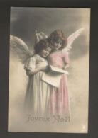 Beautiful Girl 1910s Postcard Grete Reinwald With Sister Angel Wings - Portraits
